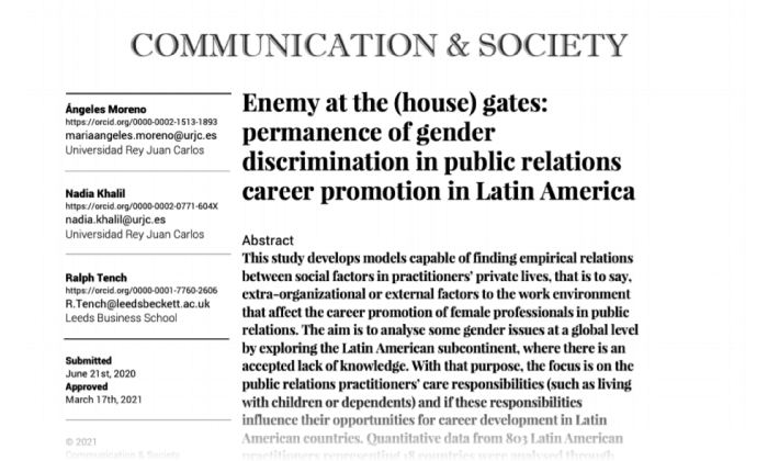 Enemy at the (house) gates: permanence of gender discrimination in public relations career promotion in Latin America